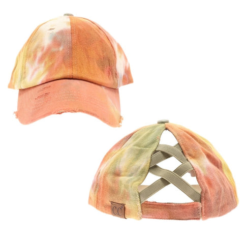Tie Dye Criss-Cross High Ponytail CC Ball Cap