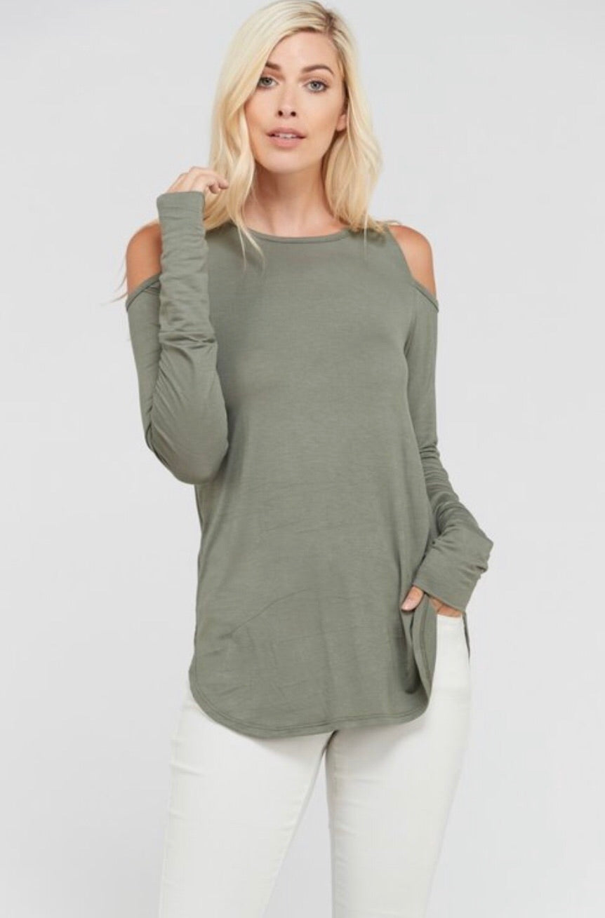 Olive Cold Shoulder