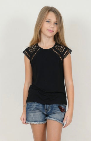 Openwork Shoulder Top
