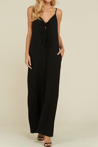 Sleeveless Tie Wide Leg Jumpsuit Plus