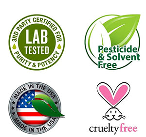 Industry Logos - 3rd party lab tested - pesticide & solvent free - made in the USA, cruelty free