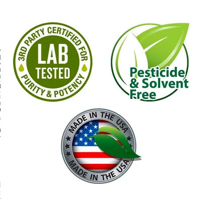 Industry Logos - 3rd party lab tested - pesticide & solvent free - made in the USA