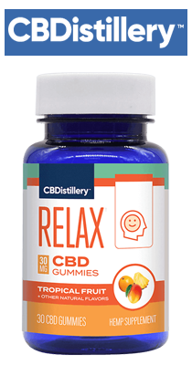 Bottle, CBDistillery - Broad Spectrum CBD Anytime Gummies - THC Free - 30mg / 30 Count