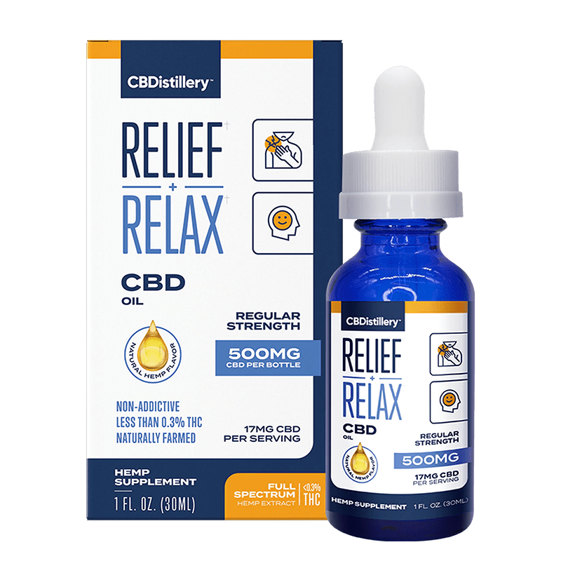 Box, CBDistillery Full Spectrum CBD oil 500 mg
