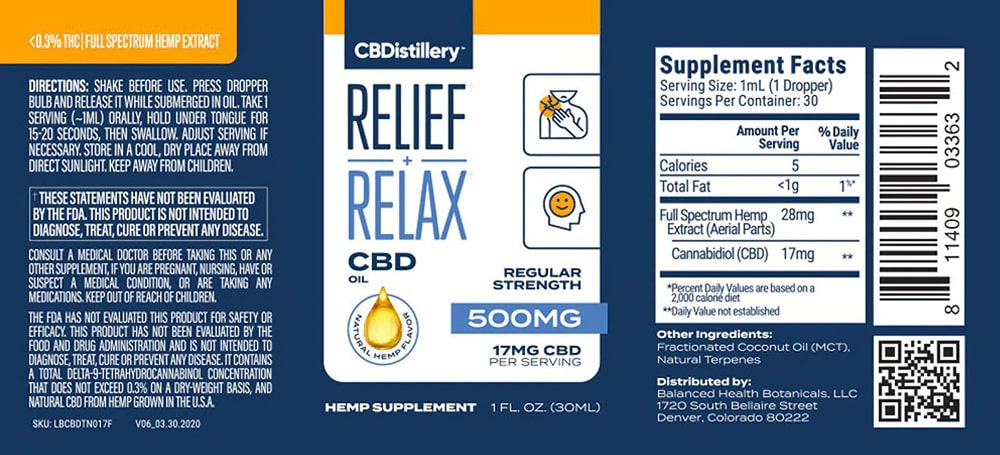 Label, CBDistillery Full Spectrum CBD oil 500 mg