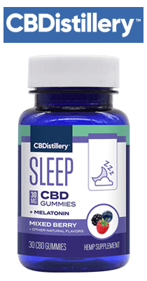Bottle, CBDistillery - Broad Spectrum CBD Sleep Gummies + Melatonin - THC Free - 30mg / 30 Count
