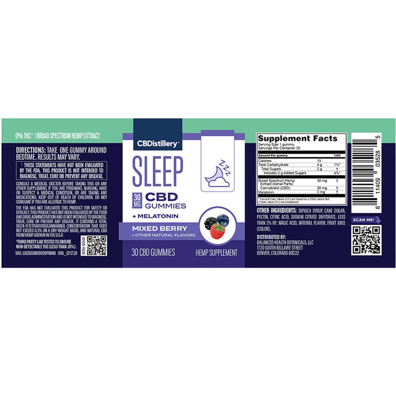 Label, CBDistillery - Broad Spectrum CBD Sleep Gummies + Melatonin - THC Free - 30mg / 30 Count
