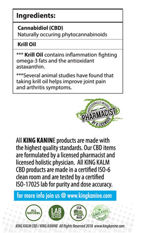 Label, KING KANINE - King Kalm CBD Oil for Pets – 75mg / 30ml