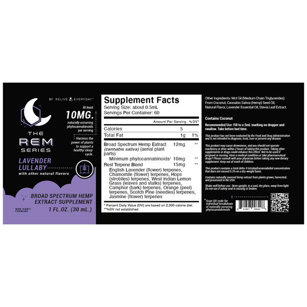 Nutrition, RE-LIVE EVERYDAY - REM Series Sleep Tincture - Lavender Lullaby - 10mg / 30ml