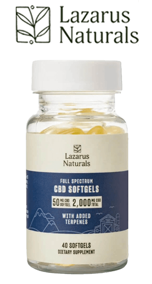 LAZARUS NATURALS - Full Spectrum CBD Softgels - 50mg / 40 Count