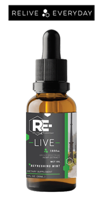 Bottle, RE-LIVE EVERYDAY - Broad Spectrum CBD Tincture - 1800mg/30ml - Refreshing Mint