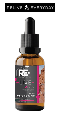 Bottle, RE-LIVE EVERYDAY - Broad Spectrum CBD Tincture - 1800mg/30ml - Watermelon