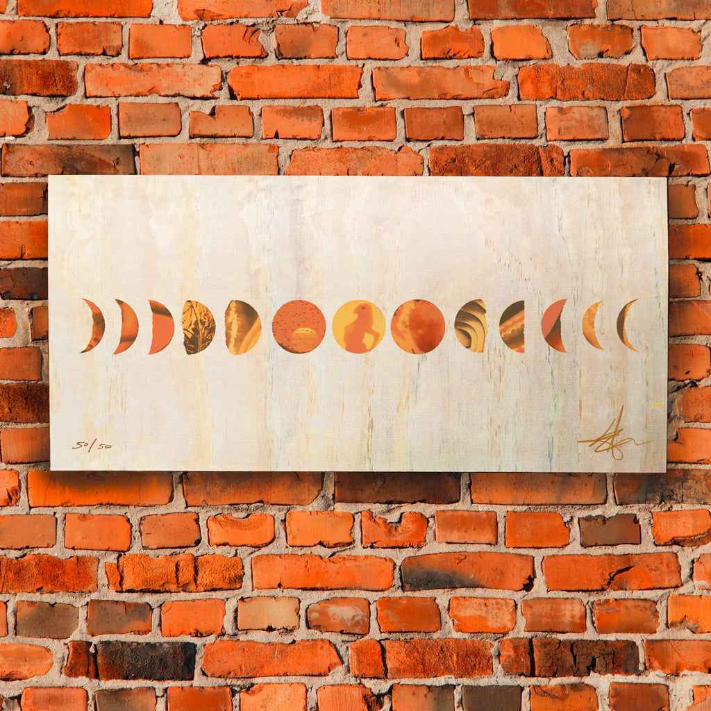 "Signed & Numbered 24x12"" Moon Phase Wood Screenprint, Limited Edition of 50"