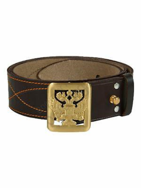 Russian Army Military Commander Emblem Leather Belt Brown
