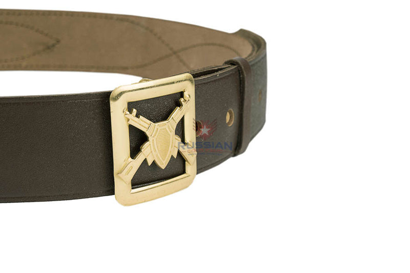 Russian Army Military Border Troops Emblem Leather Belt Brown