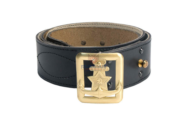 Russian Army Military Fleet Emblem Leather Belt Black