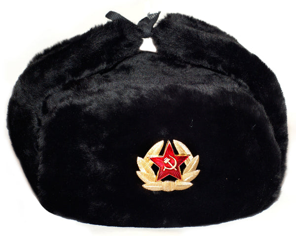 Russian Army Ushanka Winter Hat Black