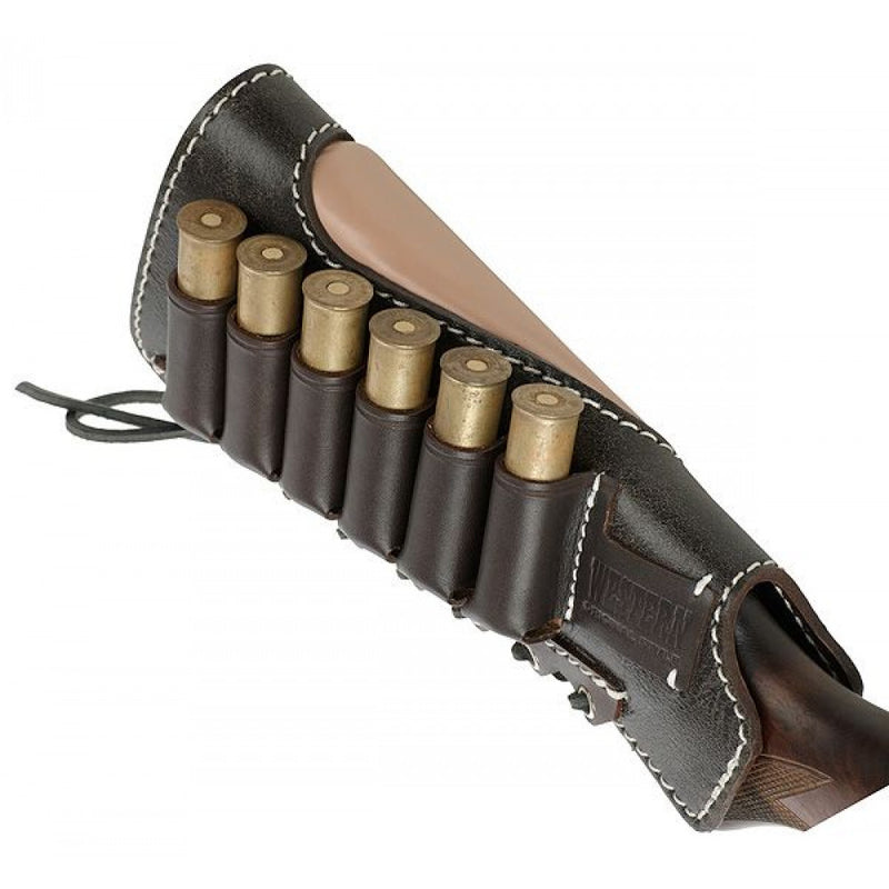 Stich Profi Shotgun Stock Shell Holder For 6 Rounds (12-16 Gauge) Leather Black