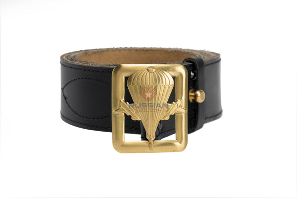 Russian Army Military VDV Emblem Leather Belt Black