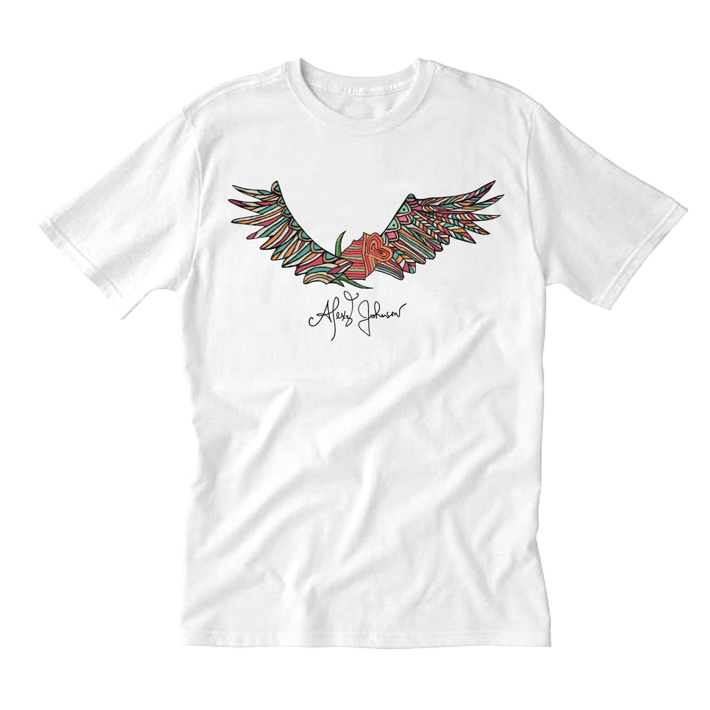 Winged Rose White Tee
