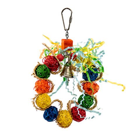Braided Wreath with Vine Balls Toy for Budgie Cage