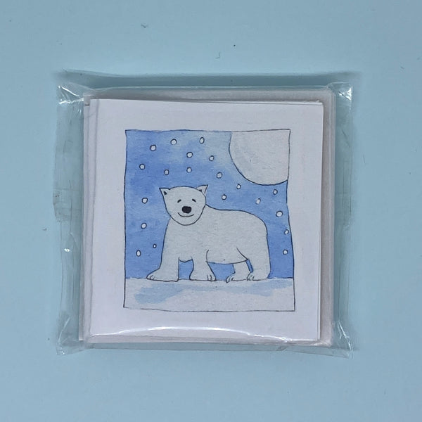 Polar Bear Moon Mini Card 5 Pack