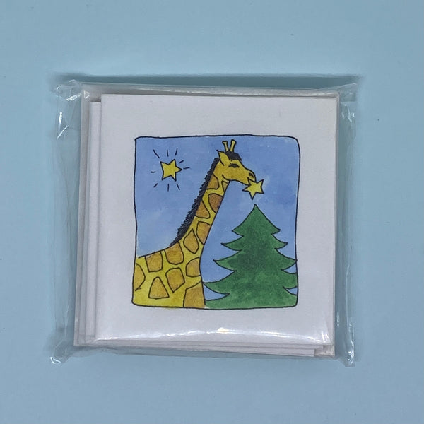 Girraffe Decorates the Tree Mini Card 5 Pack