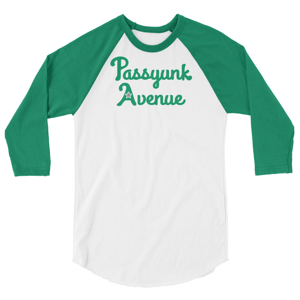 3/4 Sleeve Passyunk Avenue Baseball Tee - Kelly Green