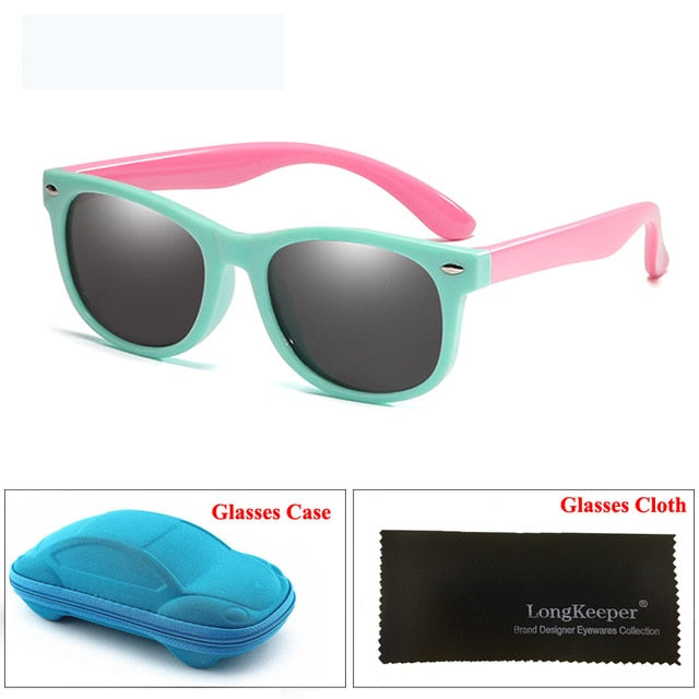 Kids Sunglasses with Case Polarized Silicone Safety Sun Glasses