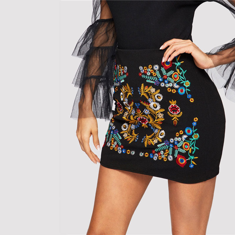 Embroidered Night Out Skirt