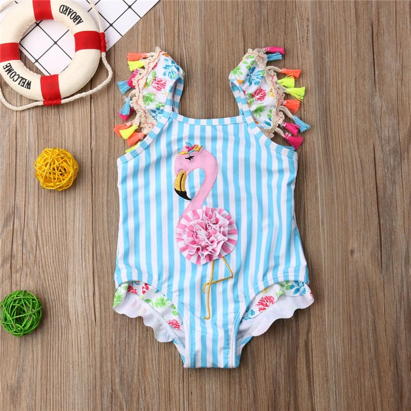 Flamingo Tassel Bathing Suit 6M-4T