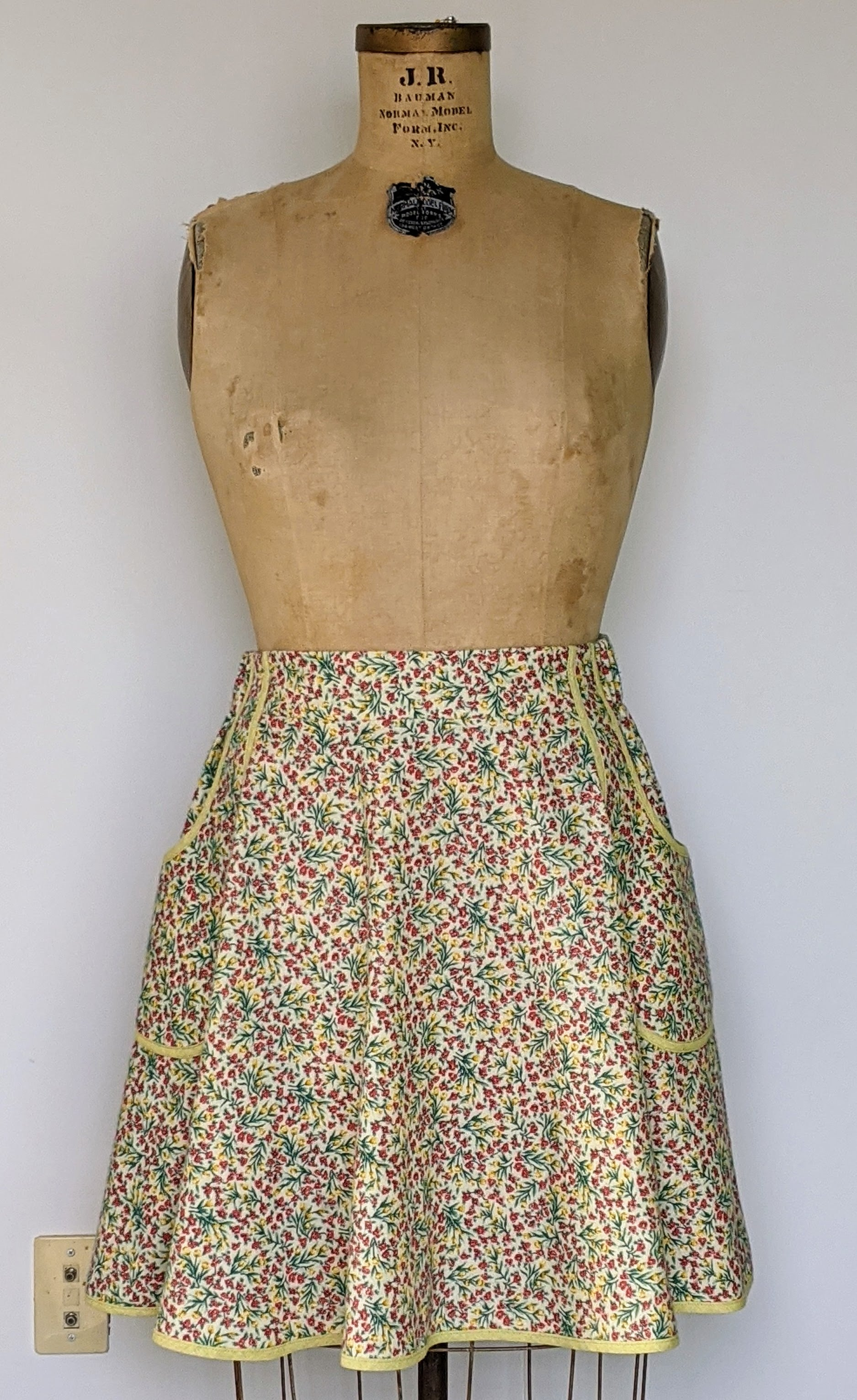 Cozy Roses Vintage Fabric Skirt