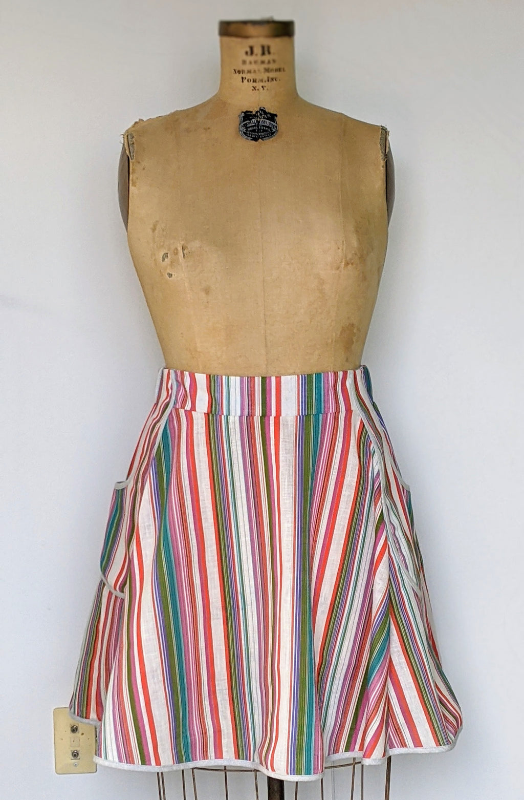 Rainbow Bright Vintage Fabric Skirt