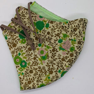 Just a li'l Gold Vintage Fabric Floral Mask