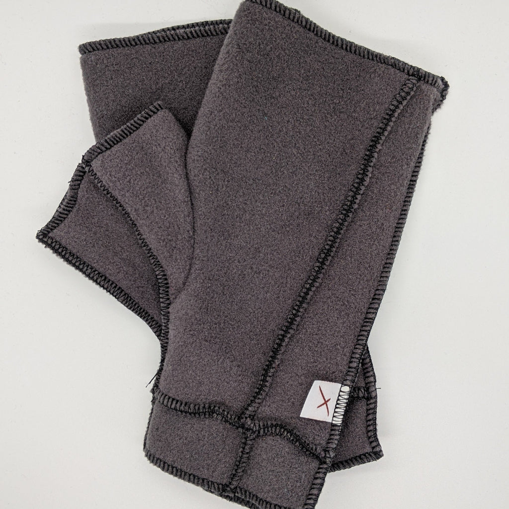 Classic Xmittens: Warm Grey with Black Thread