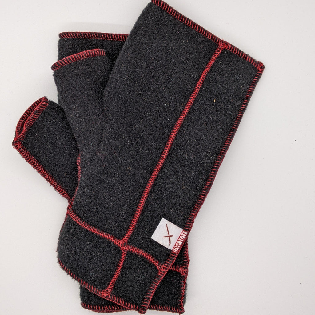 Classic Xmittens: Black with Red Thread