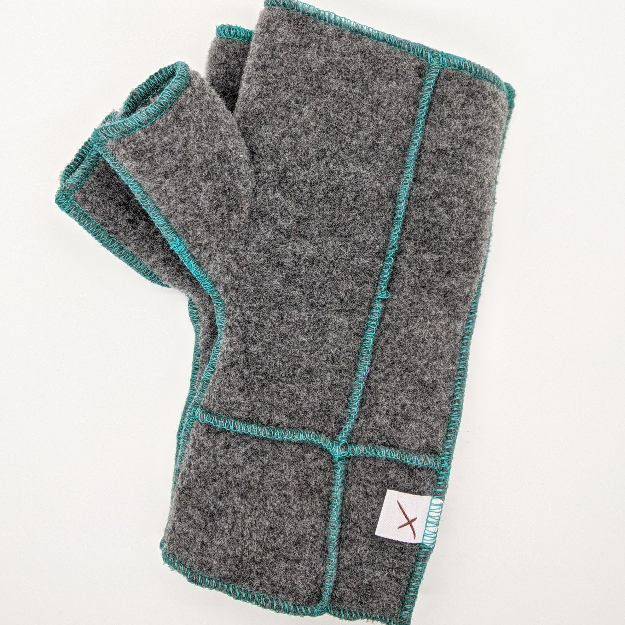 Classic Xmittens: Grey with Teal Thread