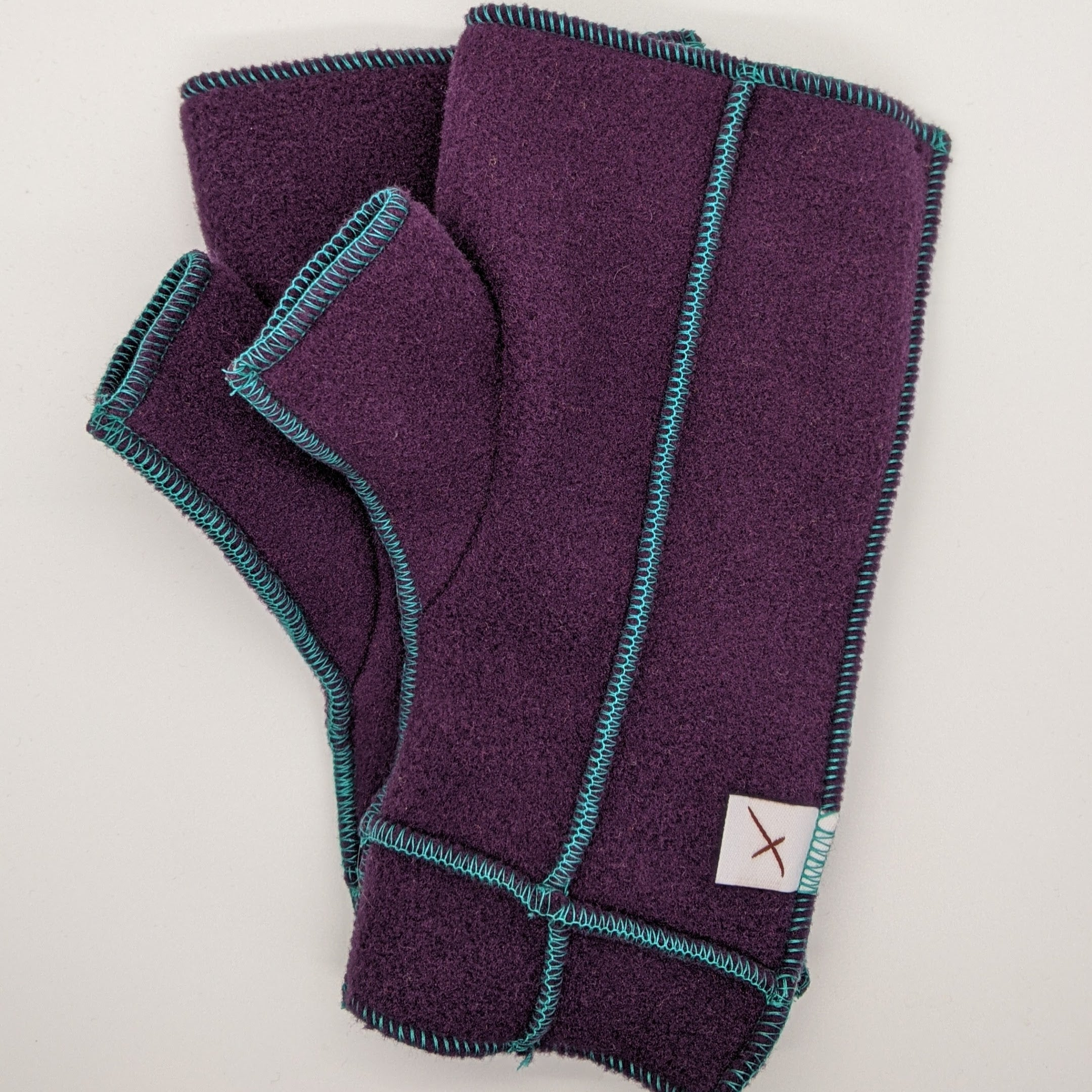 Classic Xmittens: Plum with Teal Thread