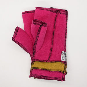Old Style Logo Xmittens: Pink & Gold with Black Thread