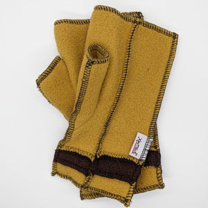 Old Style Logo Xmittens: Gold & Brown with Black Thread