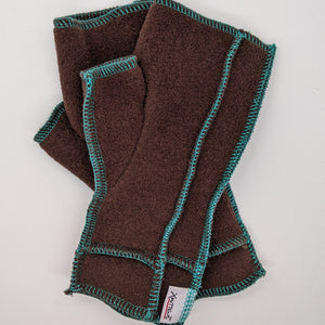 Old Style Logo Xmittens: Brown with Teal Thread