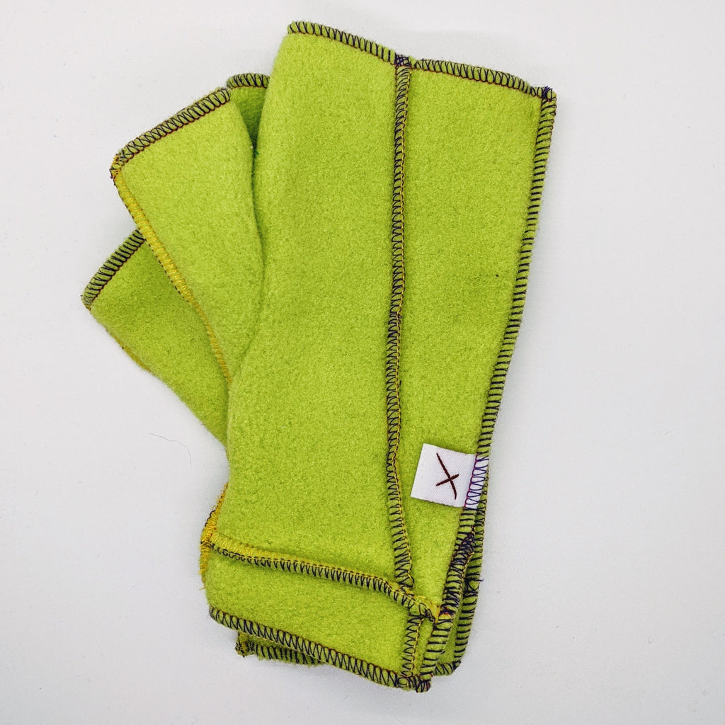 Classic Xmittens: Bright Green with Multicolored Thread