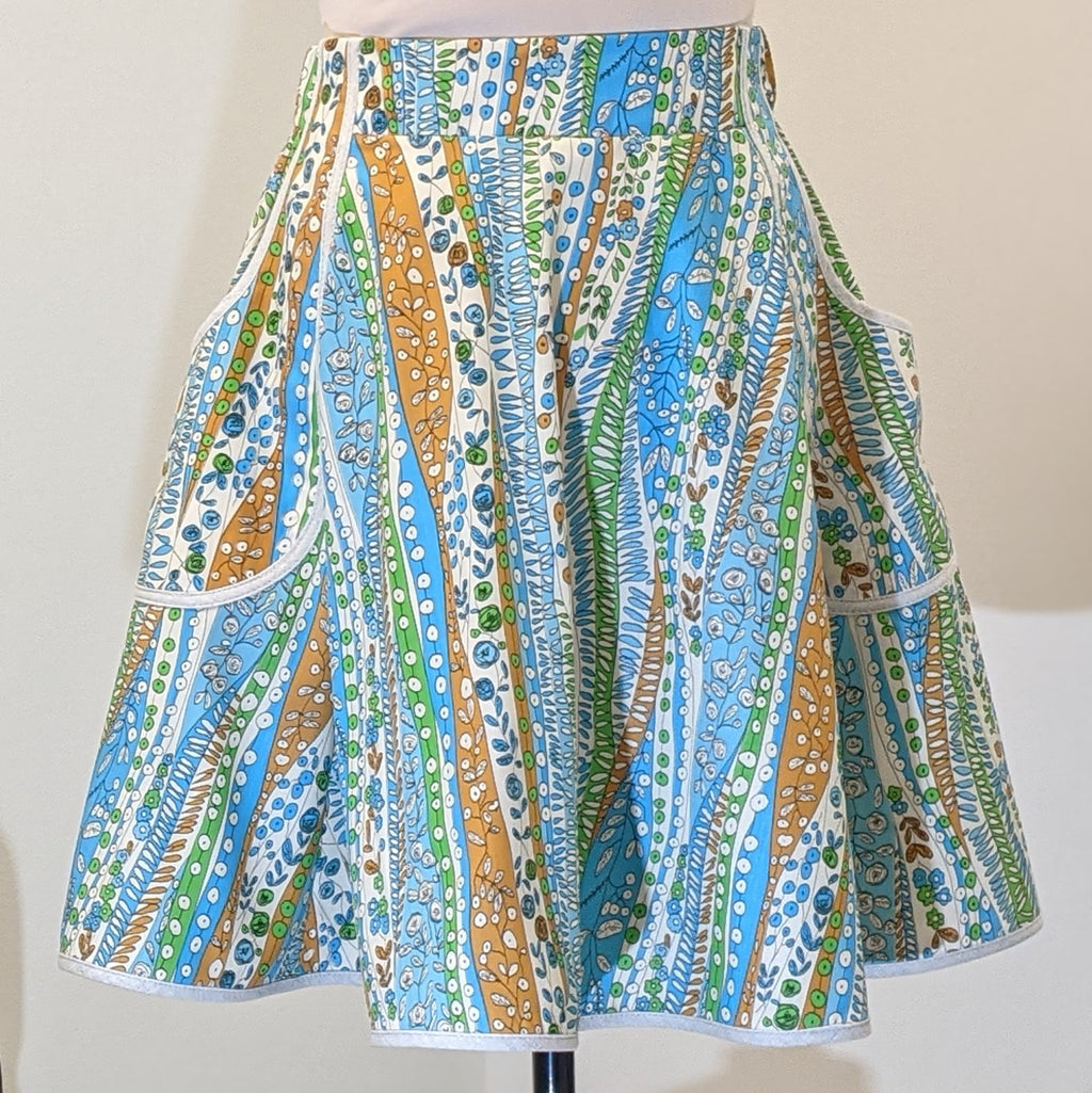 Doodle Waves Vintage Fabric Skirt