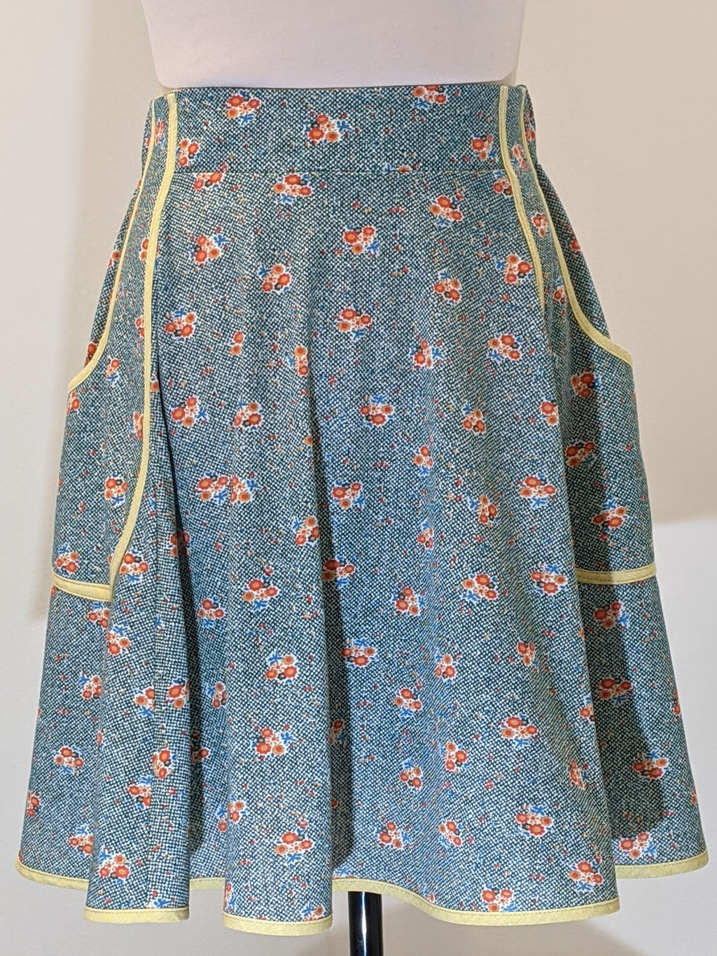 Green Dot Bouquets Vintage Fabric Skirt