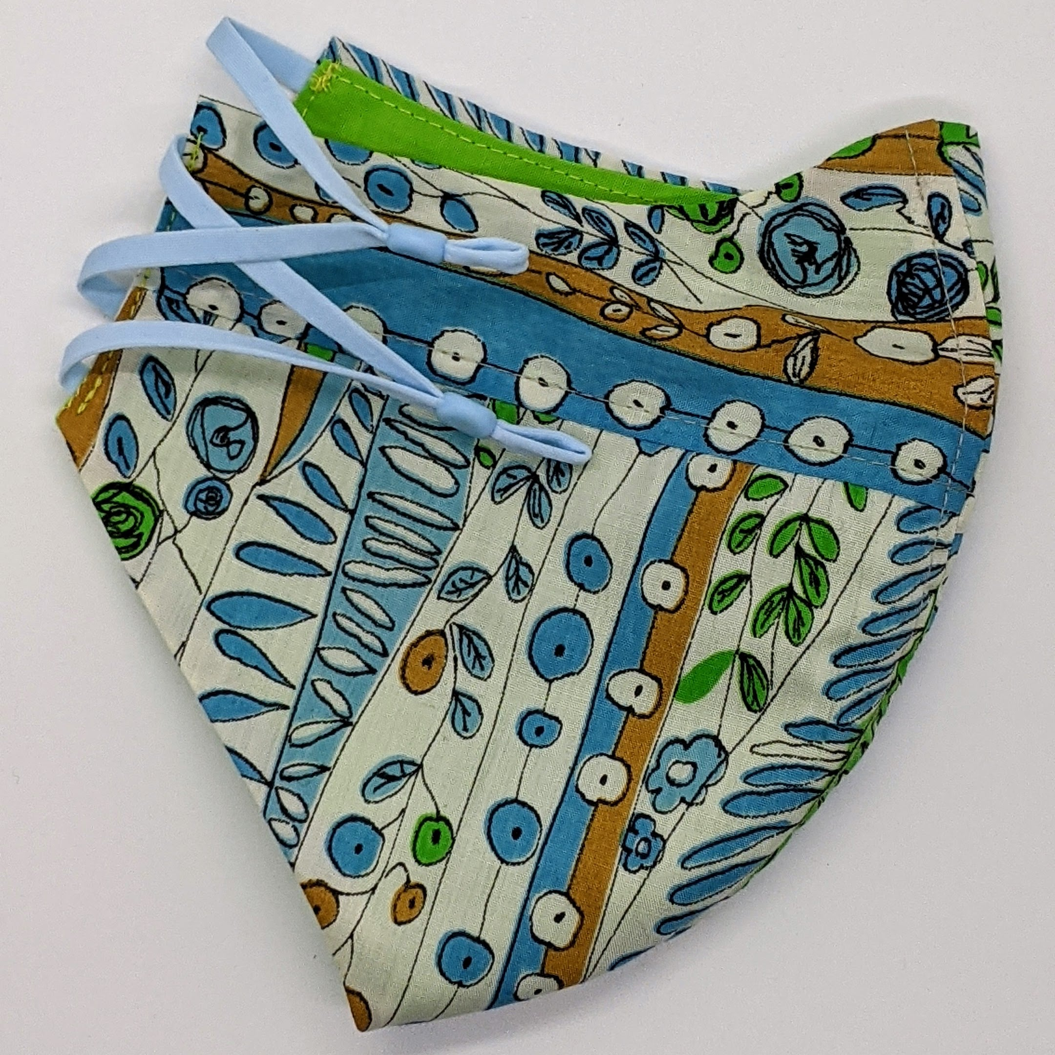 Doodle Waves Vintage Fabric Mask