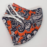Paisley-All-Day Orange and Blue Vintage Fabric Mask