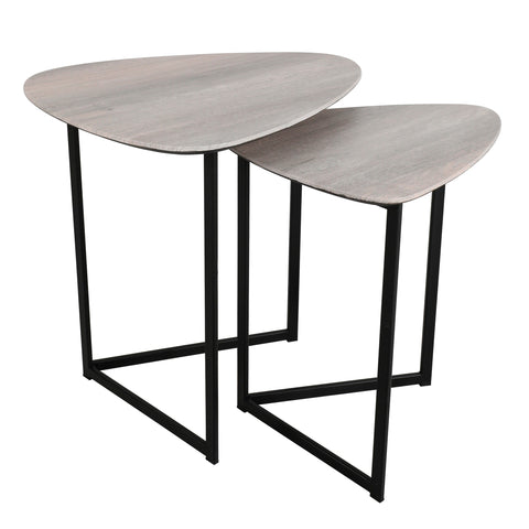 där Lighting 001MIB001 Mibello Nest Of 2 Side Tables Silvered Oak