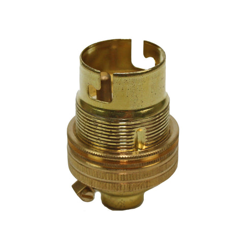 "BC - B22 Lampholder ½"" Entry Unswitched Brass"