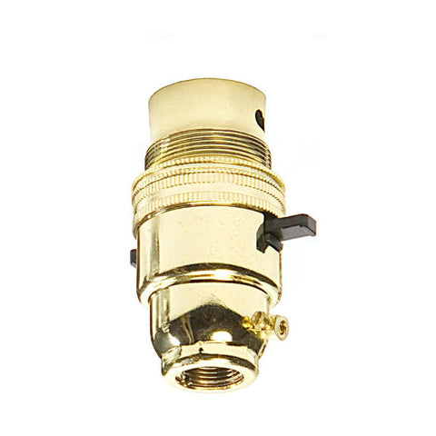 "BC - B22 Lampholder ½"" Entry Switched Brass"