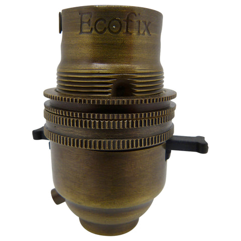 "BC - B22 Lampholder ½"" Entry Switched Antique Brass"